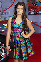 "HOLLYWOOD, LOS ANGELES, CA, USA - MARCH 11: Paris MaryJo Berelc at the World Premiere Of Disney's ""Muppets Most Wanted"" held at the El Capitan Theatre on March 11, 2014 in Hollywood, Los Angeles, California, United States. (Photo by Xavier Collin/Celebrity Monitor)"
