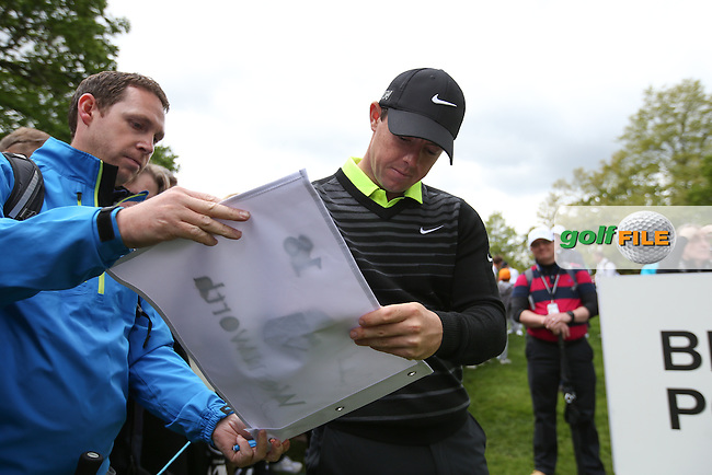 Autographs galore naturally .. Rory MCILROY (NIR) during the Pro-Am ahead of the 2015 BMW PGA Championship over the West Course at Wentworth, Virginia Water, London. Picture David lloyd, www.golffile.ie: 20/05/2015