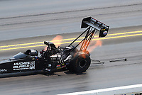 Jul 29, 2018; Sonoma, CA, USA; NHRA top fuel driver Shawn Reed loses a clutch can filter from his dragster during the Sonoma Nationals at Sonoma Raceway. Mandatory Credit: Mark J. Rebilas-USA TODAY Sports