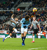 29th January 2019, St James Park, Newcastle upon Tyne, England; EPL Premier League football, Newcastle United versus Manchester City; DeAndre Yedlin of Newcastle United shoots over the bar with Leroy Sane of Manchester City taking cover