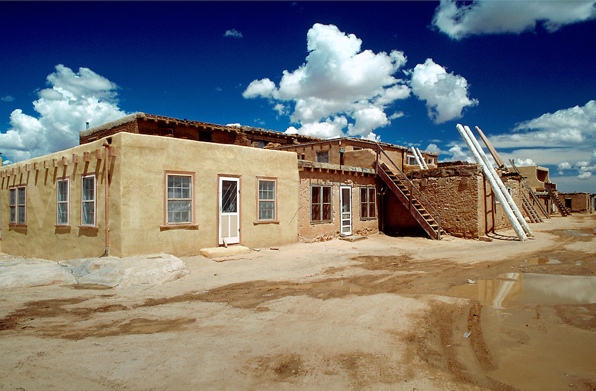 A view of several buildings in the Acoma Pueblo (aka - Sky City) - a 12th century Native American village continuously occupied to present day. New Mexico.
