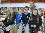 Amy Corry, Josh Levins, Donal Johnson, Abaigail Richardson and Niquisha Levins pictured aboard the tallships. Photo:Colin Bell/pressphotos.ie