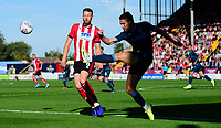 Bristol Rovers' Luke Leahy under pressure from Lincoln City's Cian Bolger<br /> <br /> Photographer Chris Vaughan/CameraSport<br /> <br /> The EFL Sky Bet League One - Lincoln City v Bristol Rovers - Saturday 14th September 2019 - Sincil Bank - Lincoln<br /> <br /> World Copyright © 2019 CameraSport. All rights reserved. 43 Linden Ave. Countesthorpe. Leicester. England. LE8 5PG - Tel: +44 (0) 116 277 4147 - admin@camerasport.com - www.camerasport.com