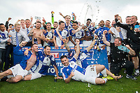 Bristol Rovers celebrate promotion to League One after the Sky Bet League 2 match between Bristol Rovers and Dagenham and Redbridge at the Memorial Stadium, Bristol, England on 7 May 2016. Photo by Mark  Hawkins / PRiME Media Images.
