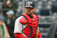 Boston catcher Jason Varitek looks over to the dugout after the game with the Royals at Kauffman Stadium in Kansas City, Missouri on April 5, 2007.  The Red Sox won 4-1.