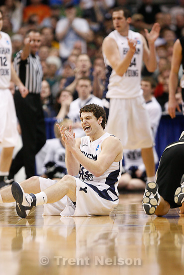 Trent Nelson  |  The Salt Lake Tribune.BYU's Jimmer Fredette celebrates a call in the first half as BYU faces Wofford in the NCAA Tournament, men's college basketball at the Pepsi Center in Denver, Colorado, Thursday, March 17, 2011.