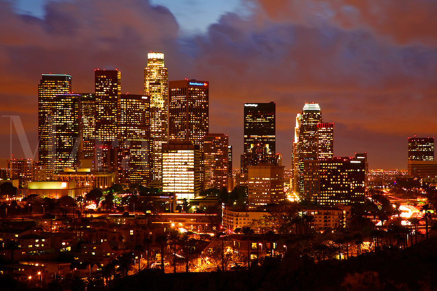 Los Angeles city skyline in the evening, Los Angeles, California.