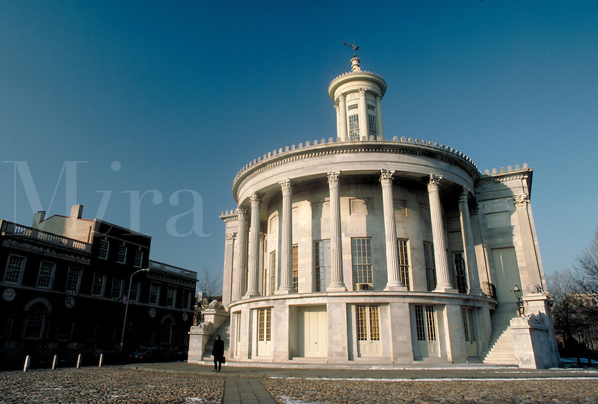 The historic trade building stands near the Delaware River port in Independence Park. Philadelphia Pennsylvania United States.
