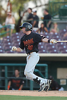 Brent Peterson #9 of the Bakersfield Blaze bats against the Inland Empire 66ers at San Manuel Stadium on August 21, 2014 in San Bernardino, California. Inland Empire defeated Bakersfield, 3-1. (Larry Goren/Four Seam Images)