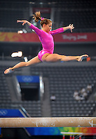 Aug. 7, 2008; Beijing, CHINA; Shawn Johnson (USA) performs on the balance beam during womens gymnastics training prior to the Olympics at the National Indoor Stadium. Mandatory Credit: Mark J. Rebilas-