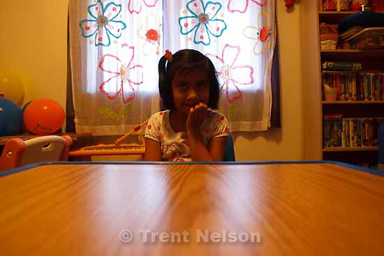 "Kimberly Rodriguez, 7, has been diagnosed with autism. Her mother, Diosa Rodriguez, says Kimberly is just learning how to ""pretend play."" Friday, December 4 2009 in Salt Lake City."
