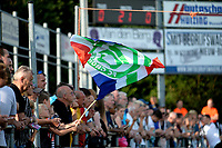 NIEUW BUINEN - Voetbal , Nieuw Buinen - FC Groningen, voorbereiding seizoen 2018-2019, 04-07-2018,  fan met vlag Groningen
