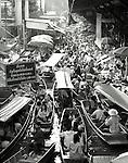 Black and white image of traditional floating market near Bangkok, Thailand.