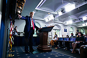 United States President Donald J. Trump points to a chart as he speaks during a news conference in the James S. Brady Press Briefing Room at the White House, on Wednesday, September 16, 2020. <br /> Credit: Al Drago / Pool via CNP