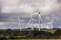 Wind turbines at the Kahuku Wind Farm, Kahuku, O'ahu.