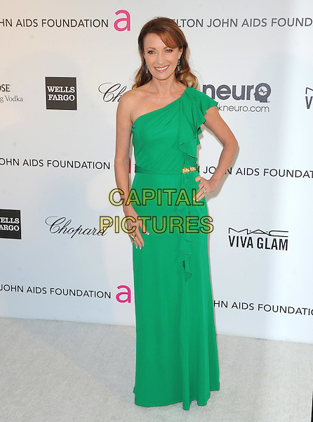 Jane Seymour.The 21st Annual Elton John AIDS Foundation Academy Awards Viewing Party held at The City of West Hollywood Park in West Hollywood, California, USA..February 24th, 2013.oscars full length green one shoulder dress hand on hip                                     .CAP/DVS.©DVS/Capital Pictures.