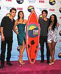 UNIVERSAL CITY, CA - JULY 22: Paul Wesley, Nina Dobrev, Ian Somerhalder and Kat Graham pose in the press room at the 2012 Teen Choice Awards at Gibson Amphitheatre on July 22, 2012 in Universal City, California.