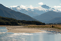 Haast River with Landsborough in background, South Westland, New Zealand, NZ