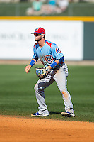 Tennessee Smokies second baseman Stephen Bruno (3) on defense against the Birmingham Barons at Regions Field on May 3, 2015 in Birmingham, Alabama.  The Smokies defeated the Barons 3-0.  (Brian Westerholt/Four Seam Images)
