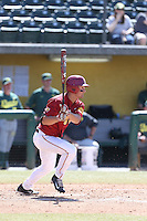 David Oppenheim (10) of the Southern California Trojans bats during a game against the Oregon Ducks at Dedeaux Field on April 18, 2015 in Los Angeles, California. Oregon defeated Southern California, 15-4. (Larry Goren/Four Seam Images)