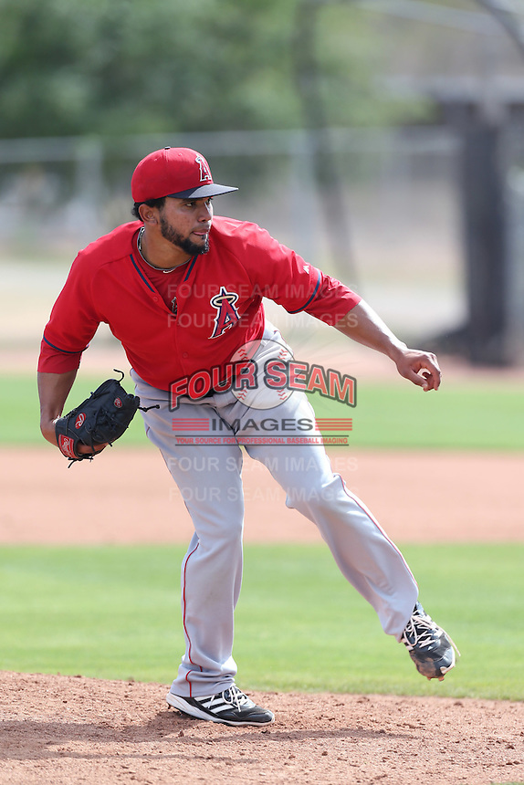 Nathaniel Rodriguez  #72 of the Los Angeles Angels pitches during a Minor League Spring Training Game against the Chicago Cubs at the Los Angeles Angels Spring Training Complex on March 23, 2014 in Tempe, Arizona. (Larry Goren/Four Seam Images)