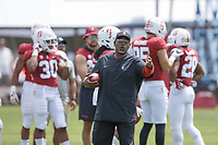 Stanford, CA - April 13, 2019: Ron Gould, coach, during the Spring Football game at Cagan Stadium on Saturday.<br /> <br /> The Defense won 20-14.