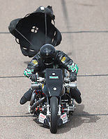 Feb 26, 2017; Chandler, AZ, USA; NHRA top fuel nitro Harley Davidson rider Tracy Kile during the Arizona Nationals at Wild Horse Pass Motorsports Park. Mandatory Credit: Mark J. Rebilas-USA TODAY Sports
