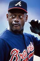 Marquis Grissom of the Atlanta Braves at Dodger Stadium in Los Angeles,California during the 1996 season. (Larry Goren/Four Seam Images)