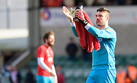 Lincoln City's Matt Gilks applauds the fans at the final whistle<br /> <br /> Photographer Chris Vaughan/CameraSport<br /> <br /> The EFL Sky Bet League Two - Lincoln City v Cheltenham Town - Saturday 13th April 2019 - Sincil Bank - Lincoln<br /> <br /> World Copyright &copy; 2019 CameraSport. All rights reserved. 43 Linden Ave. Countesthorpe. Leicester. England. LE8 5PG - Tel: +44 (0) 116 277 4147 - admin@camerasport.com - www.camerasport.com