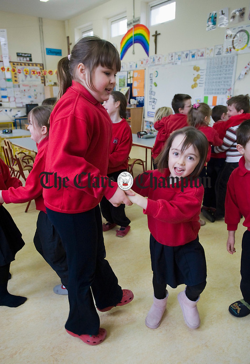 Juniors, seniors and forst class pupils get into the swing of things at Ballyvaughan NS. Photograph by John Kelly.