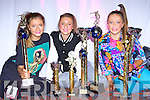 Tralee girls Siobhain O'Connor, Shannon Moynihan and Sophie Duggan with the trophies they won at the British and Ireland Freestyle dancing Championships held in the INEC on Sunday