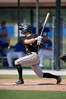 Pittsburgh Pirates left fielder Chris Sharpe (68) follows through on a swing during a Florida Instructional League game against the Toronto Blue Jays on September 20, 2018 at the Englebert Complex in Dunedin, Florida.  (Mike Janes/Four Seam Images)