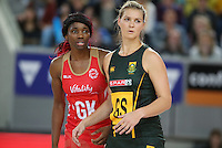 04.09.2016 England's Ama Agbeze and South Africa's Lenize Potgieter in action during the Netball Quad Series match between England and South Africa played at Margaret Court Arena in Melbourne. Mandatory Photo Credit ©Michael Bradley.