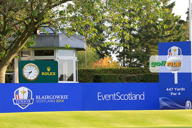 Event Scotland boarding during Day 2 Singles for the Junior Ryder Cup 2014 at Blairgowrie Golf Club on Tuesday 23rd September 2014.<br /> Picture:  Thos Caffrey / www.golffile.ie