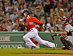8 June 2012: Boston Red Sox second baseman Dustin Pedroia in action against the Washington Nationals at Fenway Park in Boston, MA. The Nationals defeated the Red Sox 7-4 in the opening game of their 3-game series. Mandatory Credit: Ed Wolfstein Photo