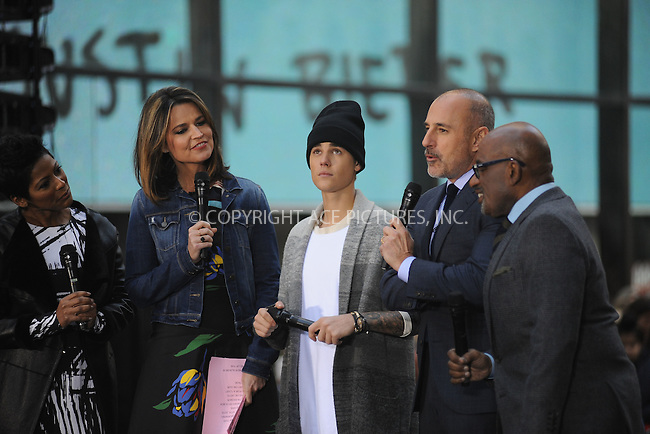WWW.ACEPIXS.COM<br /> November 18, 2015 New York City<br /> <br /> Savannah Guthrie, Justin Bieber, Matt Lauer, Al Roker performing in concert on NBC TODAY at Rockefeller Plaza on November 12, 2015 in New York City.<br /> <br /> Credit: Kristin Callahan/ACE<br /> <br /> Tel: (646) 769 0430<br /> e-mail: info@acepixs.com<br /> web: http://www.acepixs.com