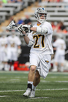Towson, MD - March 25, 2017: Towson Tigers Mike Lynch (27) attempts a shot during game between Towson and Denver at  Minnegan Field at Johnny Unitas Stadium  in Towson, MD. March 25, 2017.  (Photo by Elliott Brown/Media Images International)