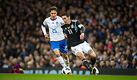 Ángel Di María (Paris Saint-Germain) of Argentina & Federico Chiesa (Fiorentina) of Italy during the International Friendly match between Argentina and Italy at the Etihad Stadium, Manchester, England on 23 March 2018. Photo by Andy Rowland.