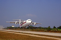 Bae (British Aerospace) 146 four-engined passenger jet taking off from Mae Hong Son, Northern Thailand..