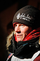 Friday March 16, 2007  - Nome, Alaska ----  Dallas Seavey shortly after arriving at the Nome burl arch finish line in  42nd place.