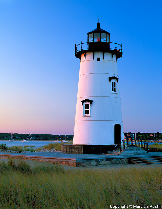 Martha's Vineyard, MA  (c) Mary Liz Austin  /<br /> Edgartown Harbor Lighthouse (1881) (rededicated as the Children's Lighthouse Memorial in 2001) on Nantucket Sound