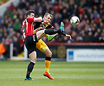 Jake Wright of Sheffield Utd  in action with Charlie Wyke of Bradford City during the English League One match at Bramall Lane Stadium, Sheffield. Picture date: April 17th 2017. Pic credit should read: Simon Bellis/Sportimage