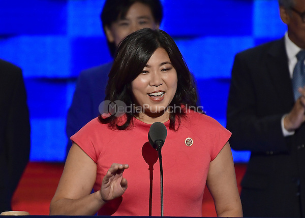 United States Representative Grace Meng (Democrat of New York) makes remarks during the third session of the 2016 Democratic National Convention at the Wells Fargo Center in Philadelphia, Pennsylvania on Wednesday, July 27, 2016.<br /> Credit: Ron Sachs / CNP/MediaPunch<br /> (RESTRICTION: NO New York or New Jersey Newspapers or newspapers within a 75 mile radius of New York City)