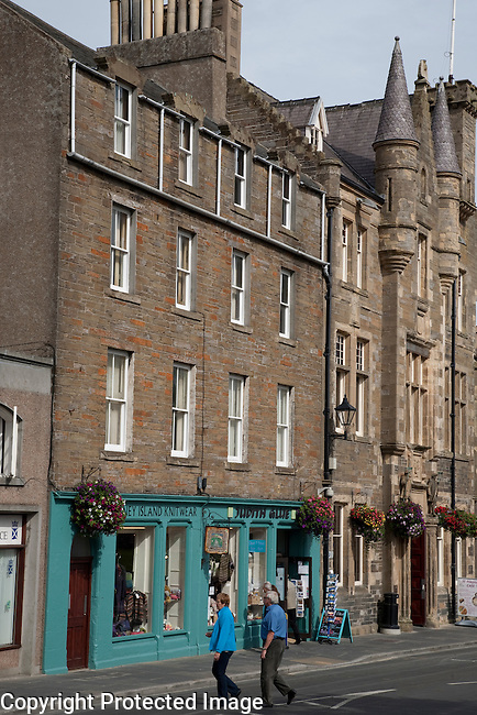 Broad Street including the Town Hall and Shops, Kirkwall, Orkney Islands, Scotland