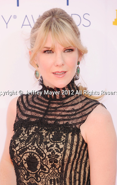 LOS ANGELES, CA - SEPTEMBER 23: Lily Rabe  arrives at the 64th Primetime Emmy Awards at Nokia Theatre L.A. Live on September 23, 2012 in Los Angeles, California.