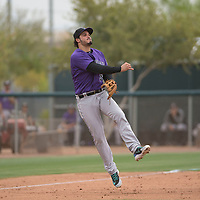 Colorado Rockies third baseman Nolan Arenado (94) during an Extended Spring Training game against the Arizona Diamondbacks at Salt River Fields at Talking Stick on April 16, 2018 in Scottsdale, Arizona. (Zachary Lucy/Four Seam Images)