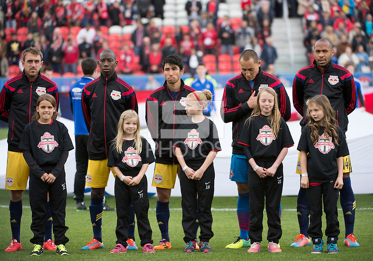 Toronto, Ontario - May 17, 2014: New York Red Bulls forward Thierry Henry #14 with some team members of the New York Red Bulls during the opening ceremonies in a game between the New York Red Bulls and Toronto FC at BMO Field. Toronto FC won 2-0.