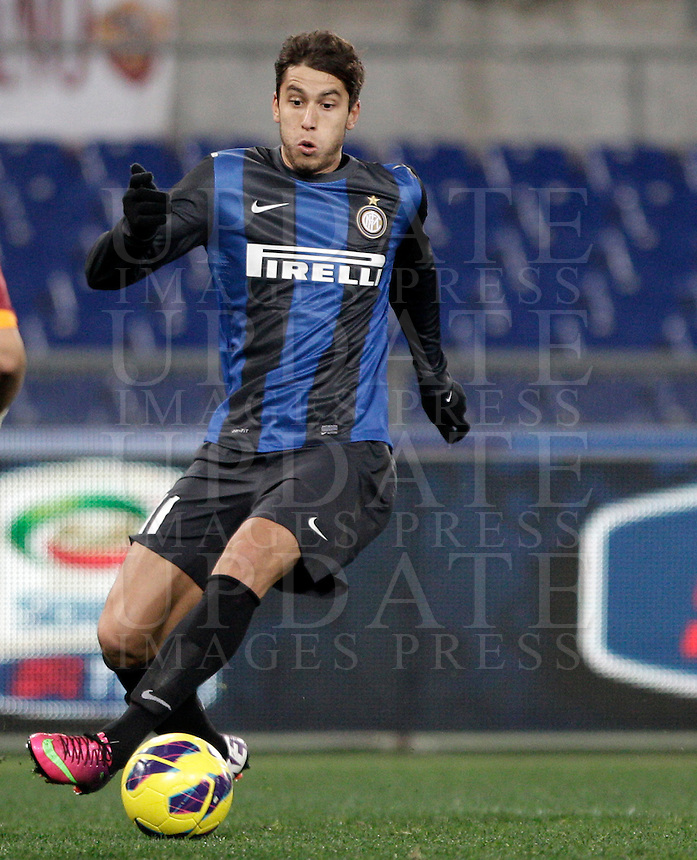 Calcio, semifinale di andata di Coppa Italia: Roma vs Inter. Roma, stadio Olimpico, 23 gennaio 2013..FC Inter midfielder Gabriel Ricardo Alvarez, of Argentina, in action during the Italy Cup football semifinal first half match between AS Roma and FC Inter at Rome's Olympic stadium, 23 January 2013..UPDATE IMAGES PRESS/Riccardo De Luca
