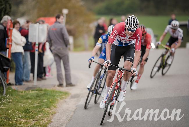 the final breakaway group in the race finale consists of these (most) elite puncheurs : Tim Wellens (BEL/Lotto-Soudal), Daryl Impey (ZAF/Mitchelton-Scott), Mathieu Van Der Poel (NED/Correndon-Circus), Michael Matthews (AUS/Sunweb) & Julian ALAPHILIPPE (FRA/Deceuninck-Quick Step)<br /> <br /> 59th De Brabantse Pijl - La Flèche Brabançonne 2019 (1.HC)<br /> One day race from Leuven to Overijse (BEL/196km)<br /> <br /> ©kramon