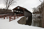 Chestnut Creek Covered Bridge carrying River Road over Chestnut Creek in Grahamsville, NY on March 1, 2008. It is a Steel Stringer structure with the look of a Town Lattice Truss built in 1976. Photo by Jim Peppler. Copyright Jim Peppler/2008.